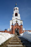 Russian Orthodox Church `Dormition of the Theotokos`. Russian Orthodox Church `Dormition of the Theotokos` was founded in 1833 year in Novoutkinsk township Royalty Free Stock Photos