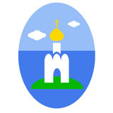 Russian orthodox church. Easter egg sticker Royalty Free Stock Images