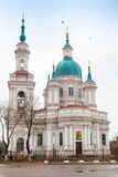 Russian Orthodox church facade. Yamburg's St.Catherine Cathedral Stock Photo