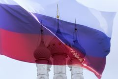 Russian Orthodox Church and flag. The Russian Orthodox Church and flag Stock Photo