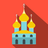 Russian orthodox church flat icon. Single illustration on a red background Royalty Free Stock Photo