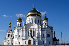 Russian Orthodox church. Friary in sunny day Royalty Free Stock Photos