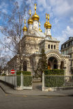 Russian orthodox church in Geneva. View of the Russian Orthodox church in Geneva, Switzerland Royalty Free Stock Photo