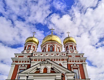 Russian orthodox church with gold domes Stock Images