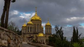 Russian Orthodox church with golden onion domes stock video
