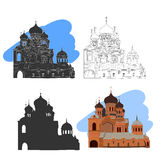 Russian orthodox church icon isolated on white background. Vector illustration for religion architecture design Royalty Free Stock Photography