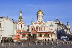 Russian orthodox church (Kazan Mother of God) on Red Square Stock Images