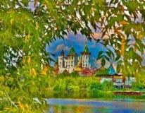 Russian orthodox church. Near the river Stock Image