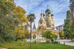Russian orthodox church in Nice, France. Russian orthodox church in the autumn, Nice, France Stock Images