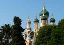 Russian Orthodox Church in Nice, France. Domes of the beautiful Russian Orthodox Church in Nice, France, a city along the French Riviera Stock Images