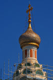 Russian Orthodox church in Nice. One of the dome of the Russian Orthodox church in Nice. The photo was taken during the reconstruction of the church Royalty Free Stock Image