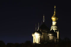 Russian Orthodox Church at night    sky Royalty Free Stock Photos