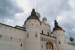 Russian orthodox church with onion domes. Rostov Kremlin stock image
