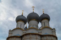 Russian orthodox church with onion domes. Rostov Kremlin stock images