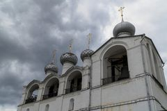 Russian orthodox church with onion domes. Rostov Kremlin stock photography