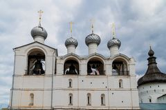 Russian orthodox church with onion domes. Rostov Kremlin stock photo
