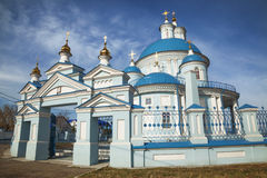 Russian Orthodox Church in the province. Blue domes against the Stock Photography