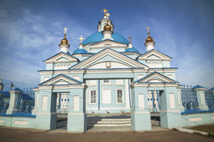 Russian Orthodox Church in the province. Blue domes against the Stock Image