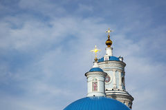 Russian Orthodox Church in the province. Blue domes against the Stock Photos