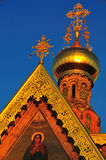 Russian orthodox church roof. Russian orthodox church of the holy Maria Magdalena on the Mathildenhoehe in Darmstadt, Germany. Built by the russian zar Nicolaus Royalty Free Stock Image