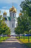 Russian Orthodox Church of Saint Catherine in a Sunny festive day. ST.PETERSBURG, RUSSIA - AUGUST 19, 2017: The famous Russian Orthodox Church of Saint Catherine Stock Photography