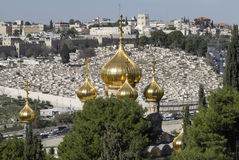 Russian Orthodox Church of Saint Mary Magdalene. The Church of Saint Mary Magdalene.  This is a Russian Orthodox Church as seen from the Mount of Olives in Royalty Free Stock Image