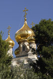 Russian Orthodox Church of Saint Mary Magdalene. The Church of Saint Mary Magdalene.  This is a Russian Orthodox Church as seen from the Mount of Olives in Stock Photos