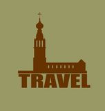 Russian orthodox church silhouette. Travel background. Russian orthodox church silhouette. Travel banner background.  Travel word Royalty Free Stock Photos