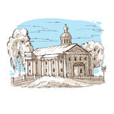 Russian Orthodox church. Sketch Russian Orthodox church with a dome and columns among the trees against the blue sky Stock Photo