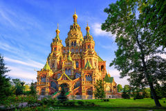 Russian orthodox church, St Petersburg, Russia. St Peter and Paul cathedral is a traditional russian orthodox church, Peterhof, St Petersburg, Russia Royalty Free Stock Photo