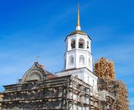 Russian orthodox church under construction Royalty Free Stock Photography