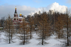 Russian orthodox church in winter park Stock Photos