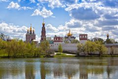 Russian orthodox churches in Novodevichy Convent monastery Royalty Free Stock Photo