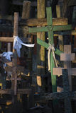 Russian Orthodox crosses. Crosses at Russian Orthodox cemetry in twilight Royalty Free Stock Photography