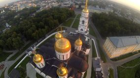 Russian orthodox dome aerial view on summer day stock video