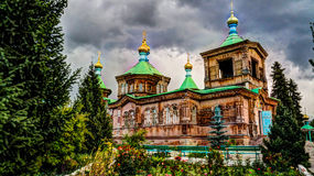 The Russian Orthodox Holy Trinity Cathedral in Karakol Kyrgyzstan Royalty Free Stock Photo