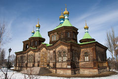 The Russian Orthodox Holy Trinity Cathedral in Karakol Stock Images