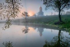 Russian orthodox monastery at sunrise. Stock Image