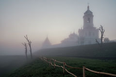 Russian orthodox monastery at sunrise. Stock Images