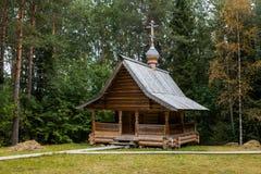 Russian orthodox wooden chapel. Old orthodox wooden chapel near Arkchangelsk Stock Photo