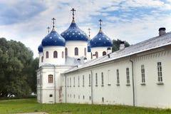 Russian orthodox Yuriev Monastery, Church of Exaltation of the Cross, Great Novgorod, Russia.  Royalty Free Stock Image