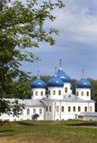 Russian orthodox Yuriev Monastery, Church of Exaltation of the Cross, Great Novgorod, Russia.  Royalty Free Stock Photos