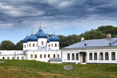 Russian orthodox Yuriev Monastery, Church of Exaltation of the Cross, Great Novgorod, Russia.  Royalty Free Stock Photography