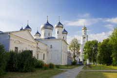Russian orthodox Yuriev Monastery in Veliky Novgorod Royalty Free Stock Photo