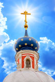Russian orthodoxy church. Russian province orthodoxy church in blue sky with sunlight Stock Photo