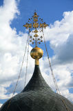 Russian orthodoxy cross. Russian orthodoxy golden cross on the cathedral Stock Image