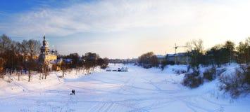 Russian Ortodox Church winter landscape  christian iron cross Royalty Free Stock Photo