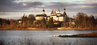 Russian ortodox church winter landscape Stock Photo