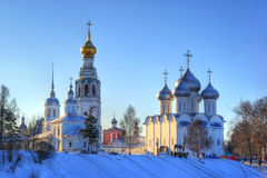 Russian ortodox church winter landscape. Vologda Stock Images