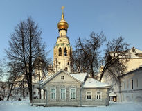 Russian ortodox church winter landscape Stock Images